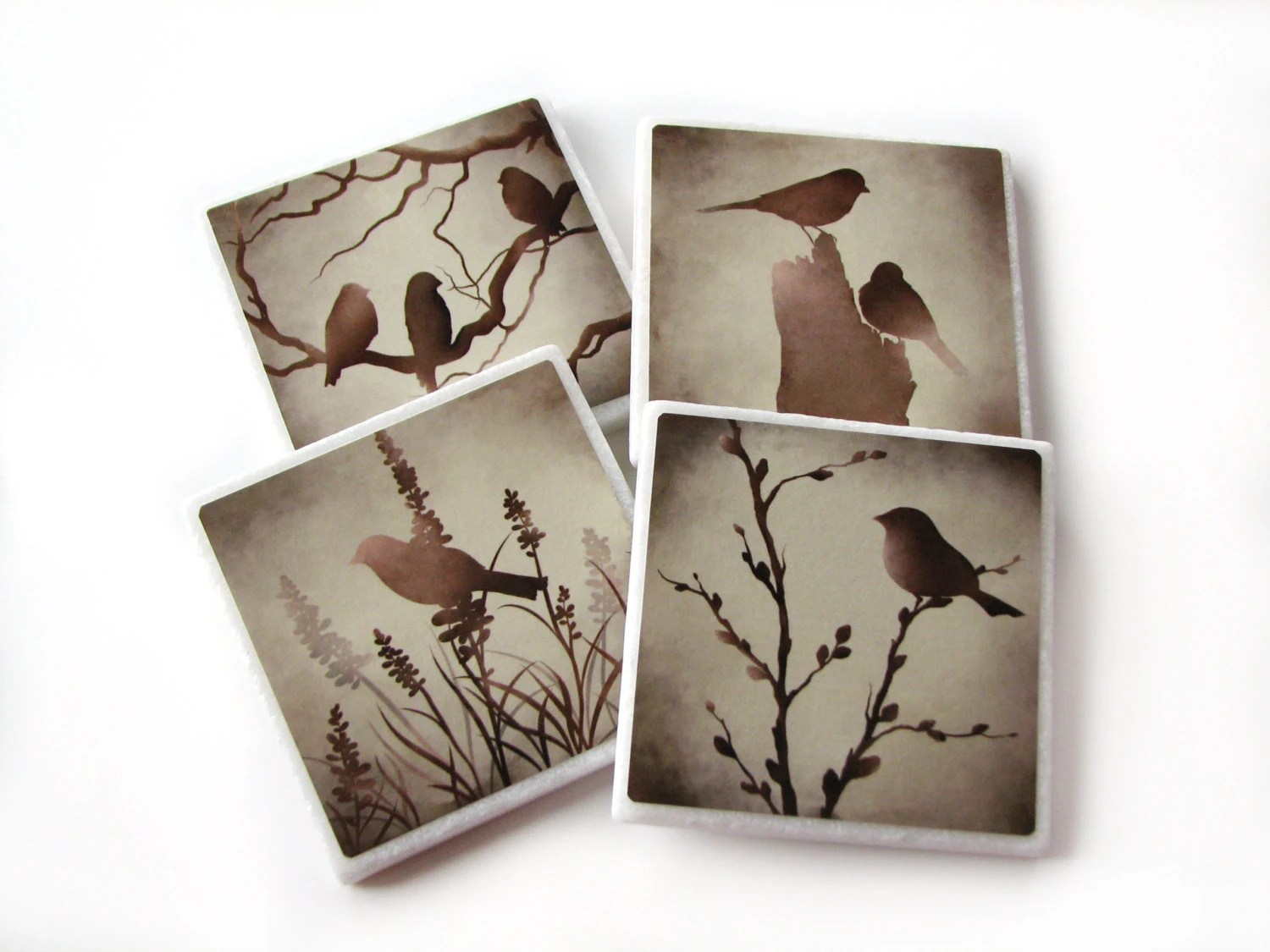 Best Bird Decorative Tile Coasters Set Of 4 Brown Nature Home This Month
