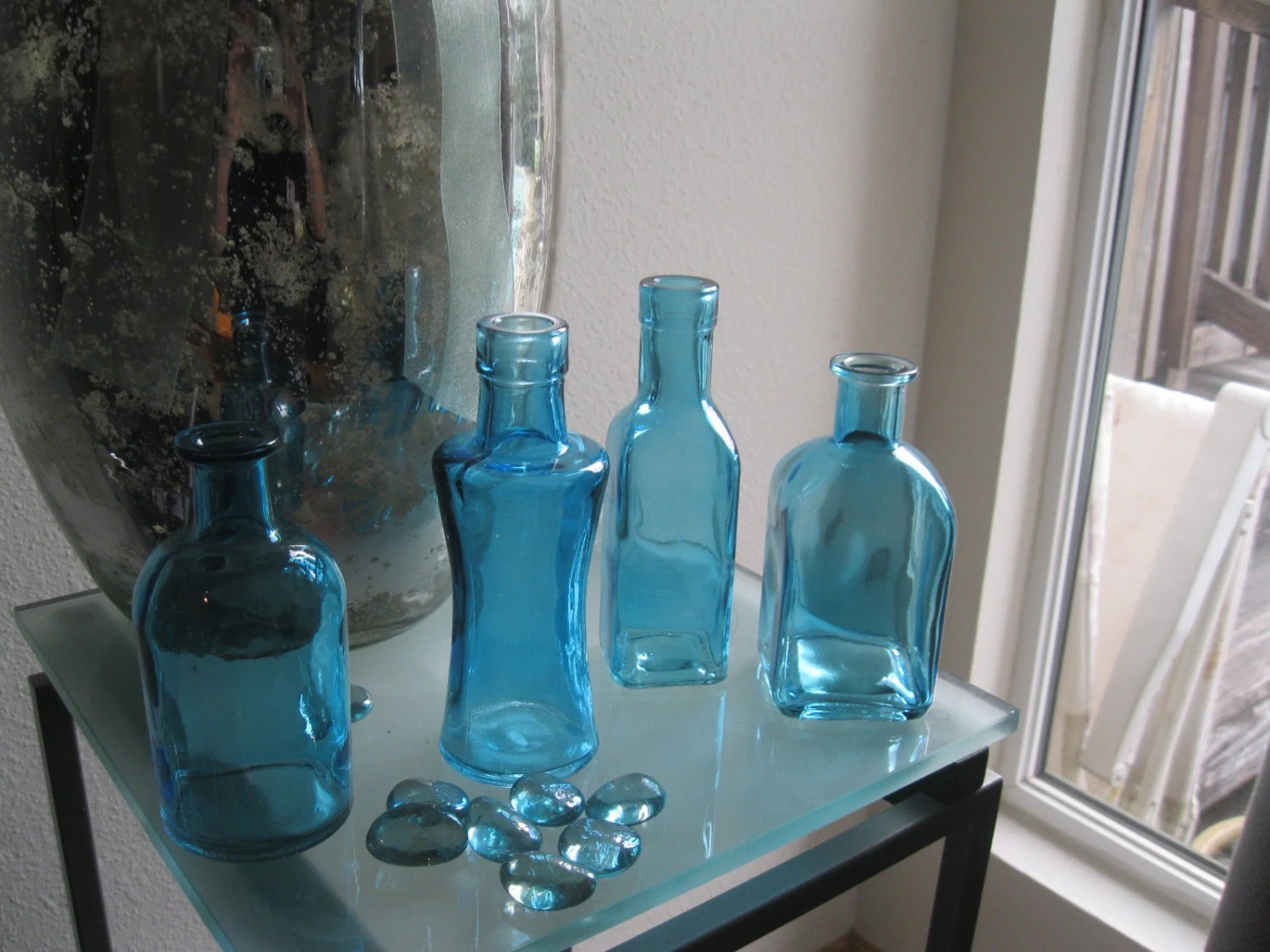 Best 4 Blue Decorative Colored Glass Bottles Floral Bud Vase This Month
