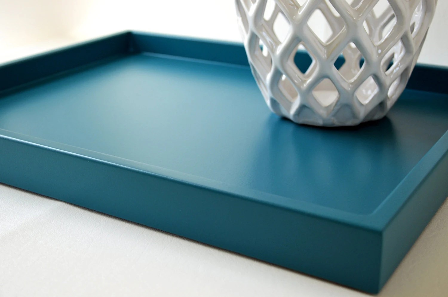 Best Teal Blue 14 X 18 Shallow Wood Decorative Tray Coffee Table This Month