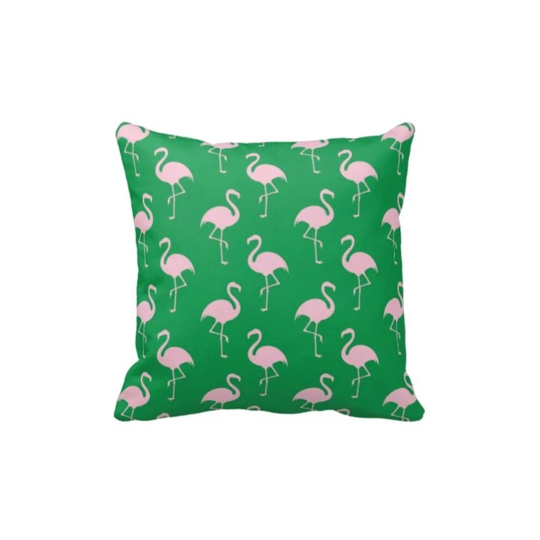 Best Preppy Flamingo Throw Pillow Cover Green Light Pink Or This Month