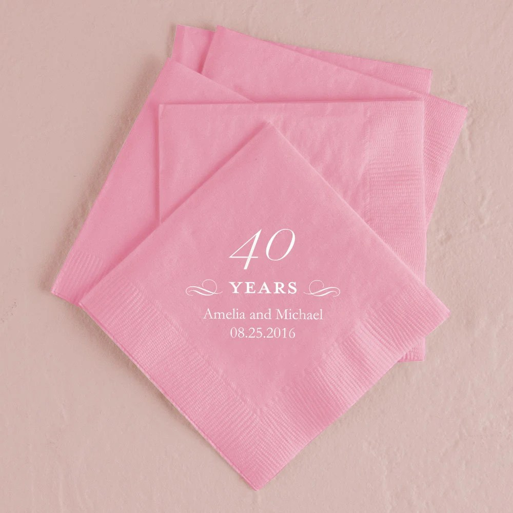 Best Set Of 100 Decorative 40 Years Paper Napkins Birthday This Month