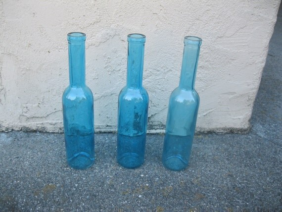 Best Three Blue Decorative Colored Glass Bottles By Bertolibridal This Month