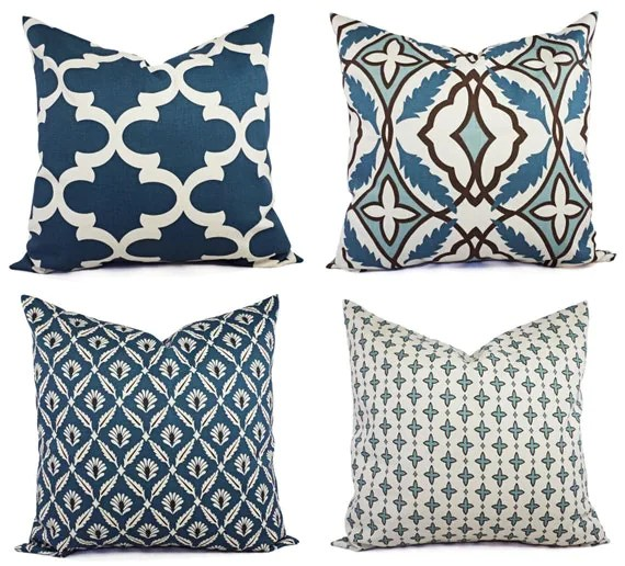 Best Throw Pillow Cover Blue And Beige Decorative Pillow Blue This Month