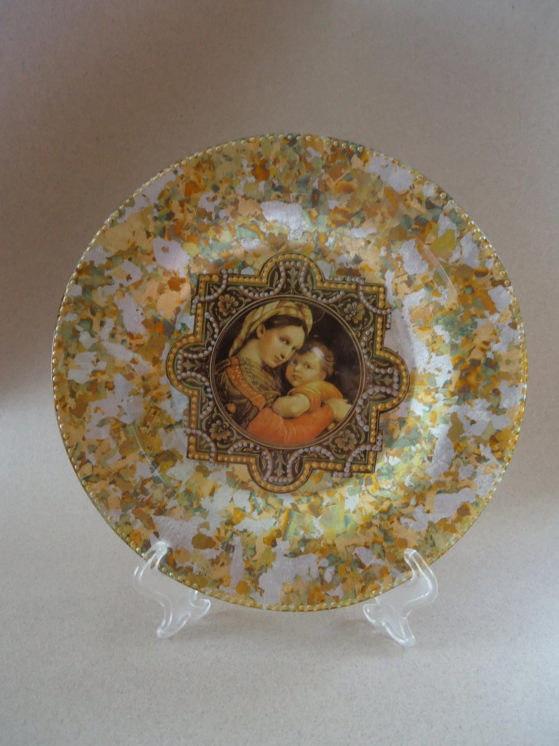 Best Glass Decorative Plate Love Mother And Child This Month