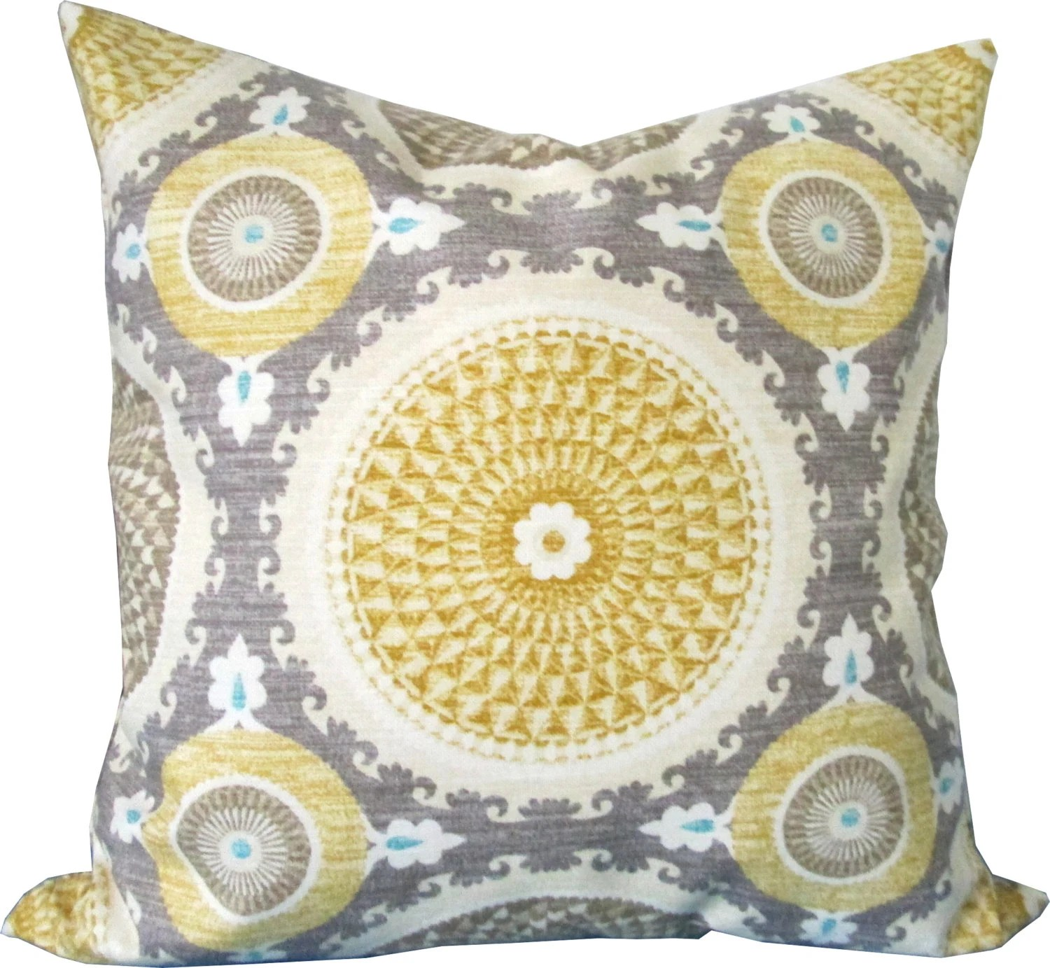 Best Yellow And Gray Suzani Decorative Pillow This Month