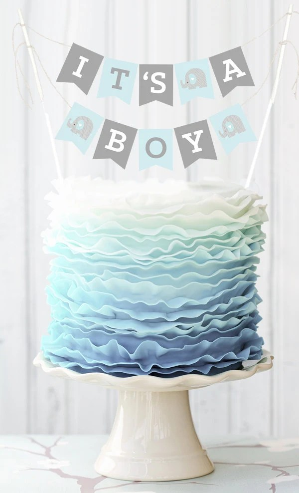 Best Blue Elephant Baby Shower Banner For Cake Decorations Baby This Month
