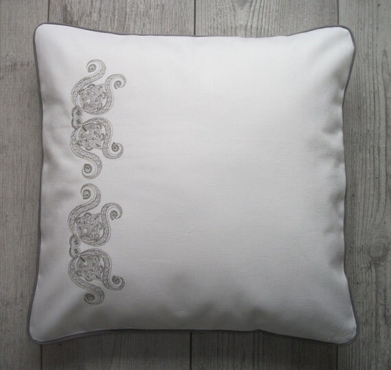 Best Decorative Pillow White Pillow Gray Embroidery White This Month