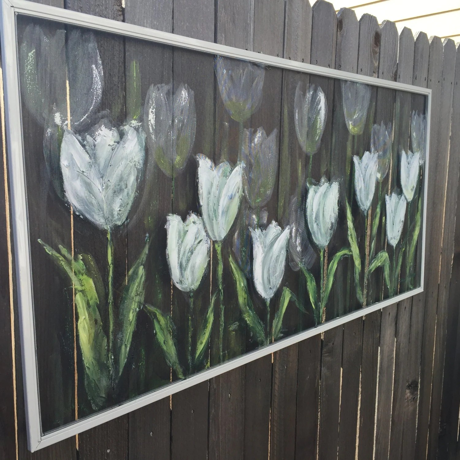 Best Recycled Old Window Screen White Tulips Hand This Month