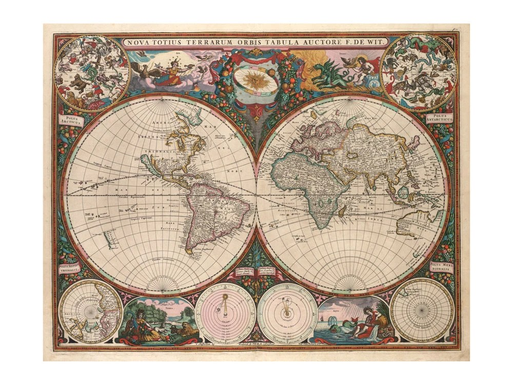 Best De Wit S Map Of The World Antique Wall Decor Vintage This Month