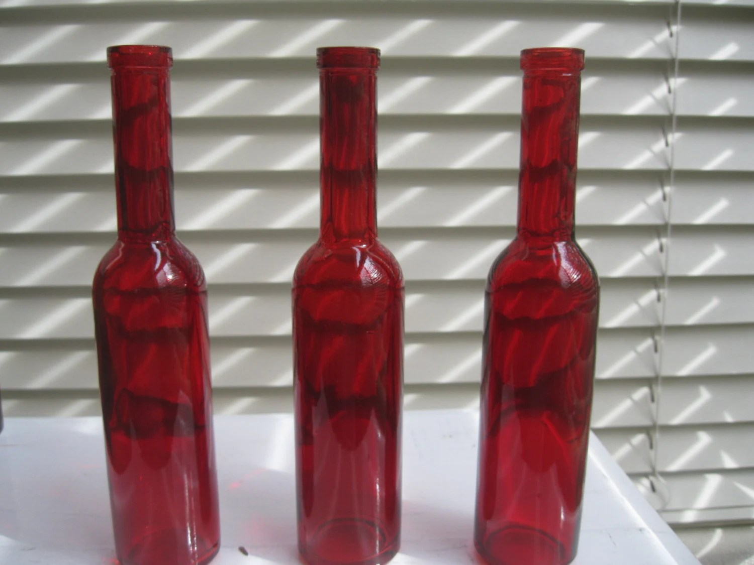 Best Three Red Ruby Decorative Colored Glass Bottles Floral Bud This Month