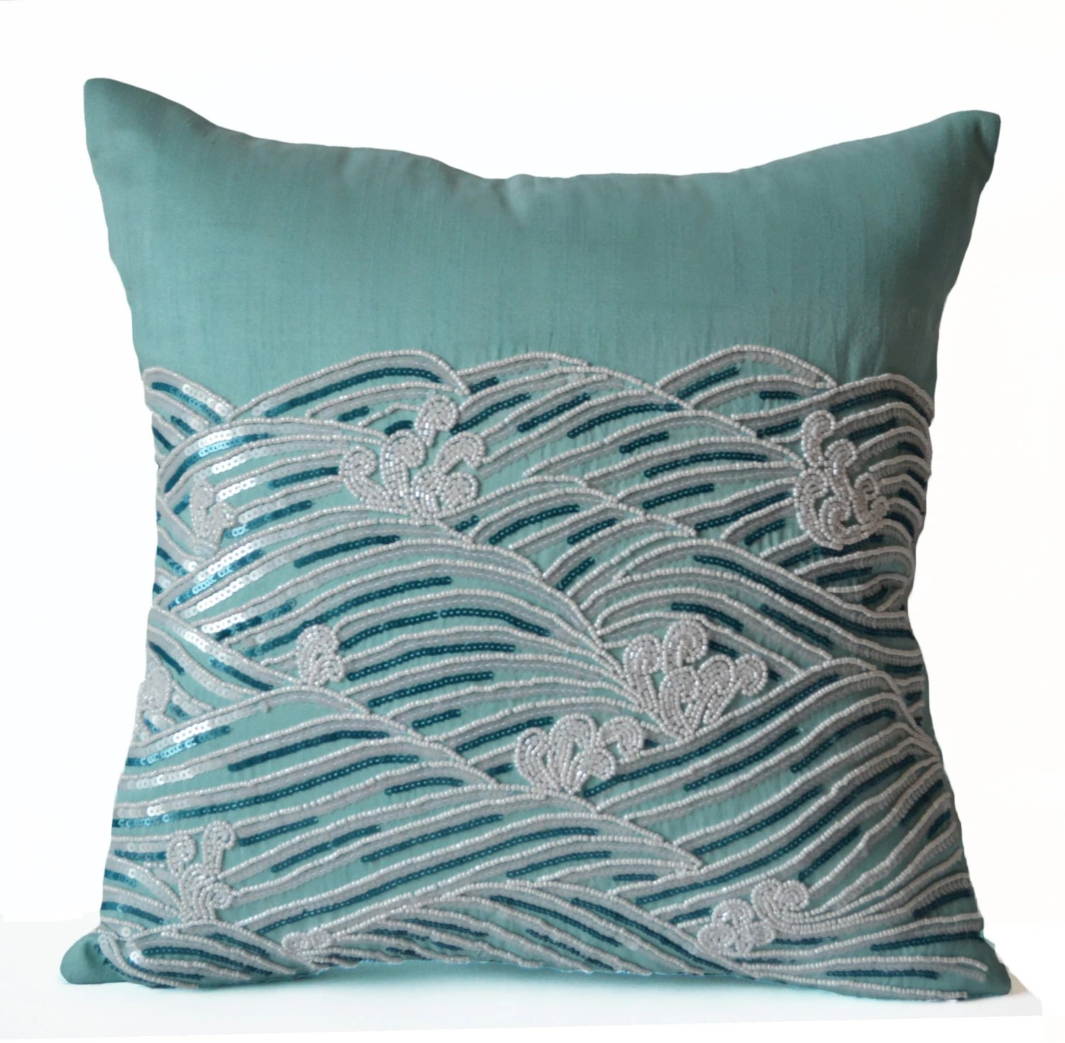 Best Decorative Pillow Cover Teal Throw Pillows Sequin Accent This Month