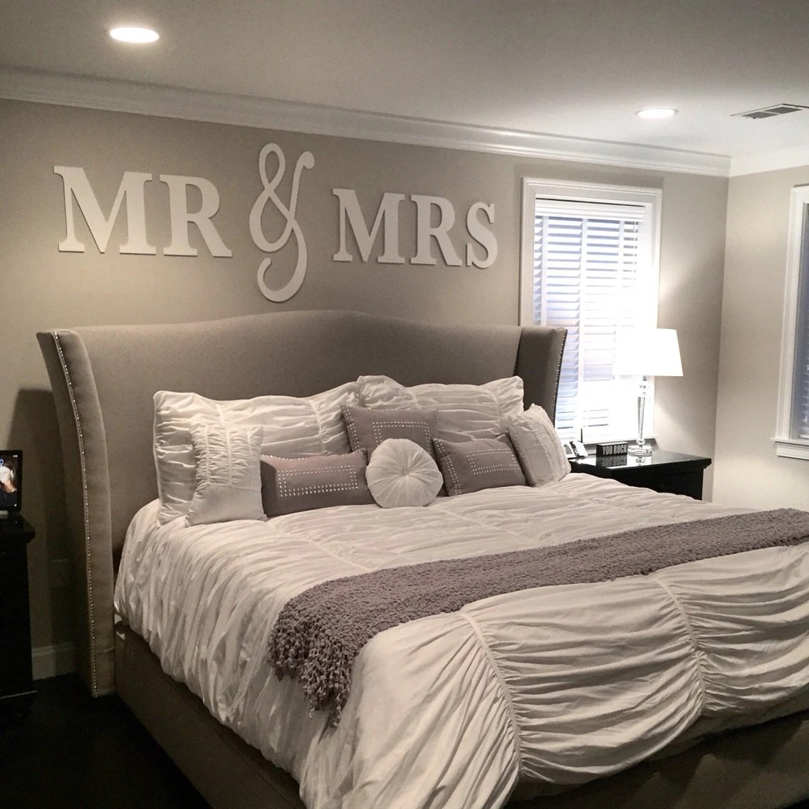Best Mr Mrs Wall Sign Above Bed Decor Mr And Mrs Sign For Over This Month