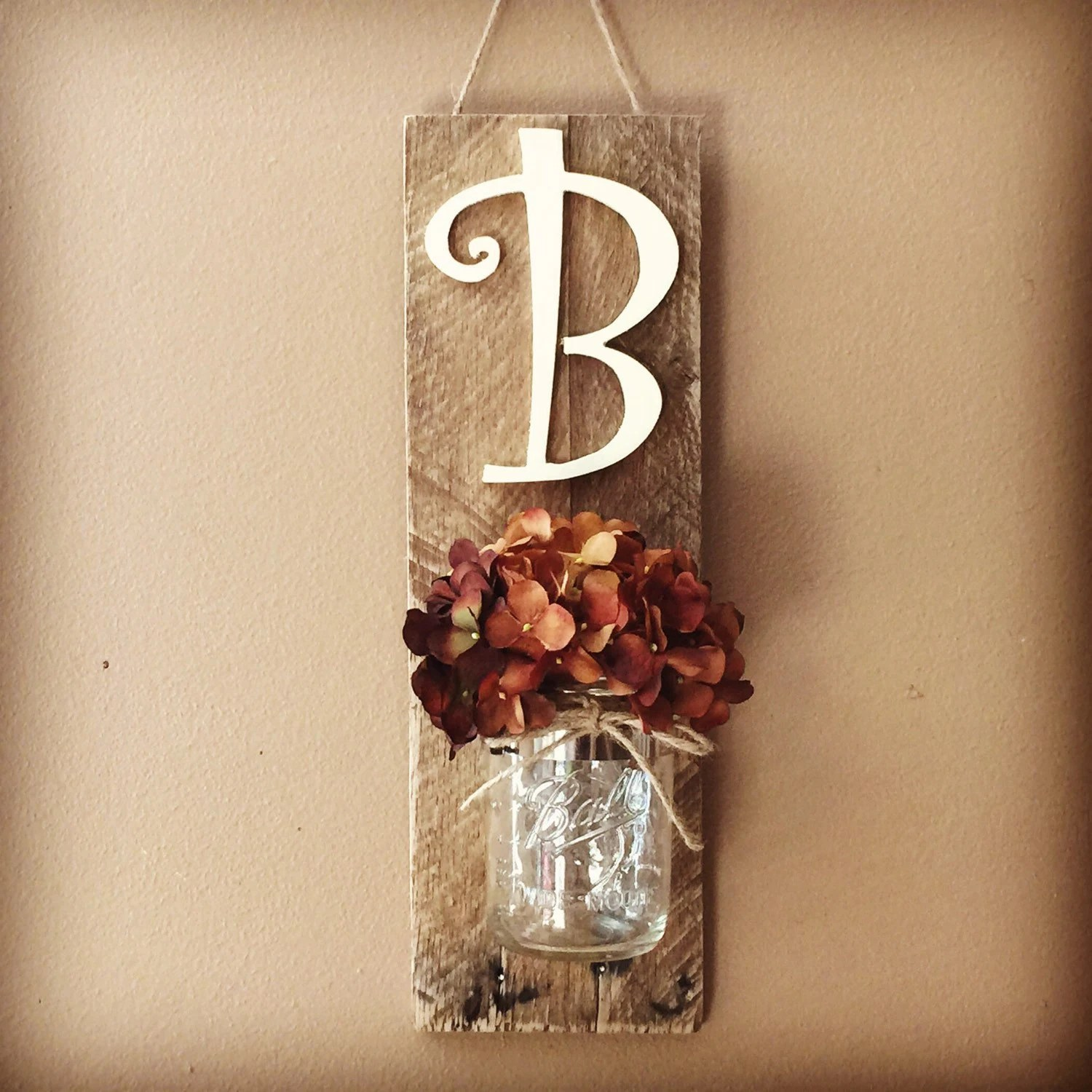 Best Initial Mason Jar Wall Sconce Mason Jar Decor Wall Hanging This Month