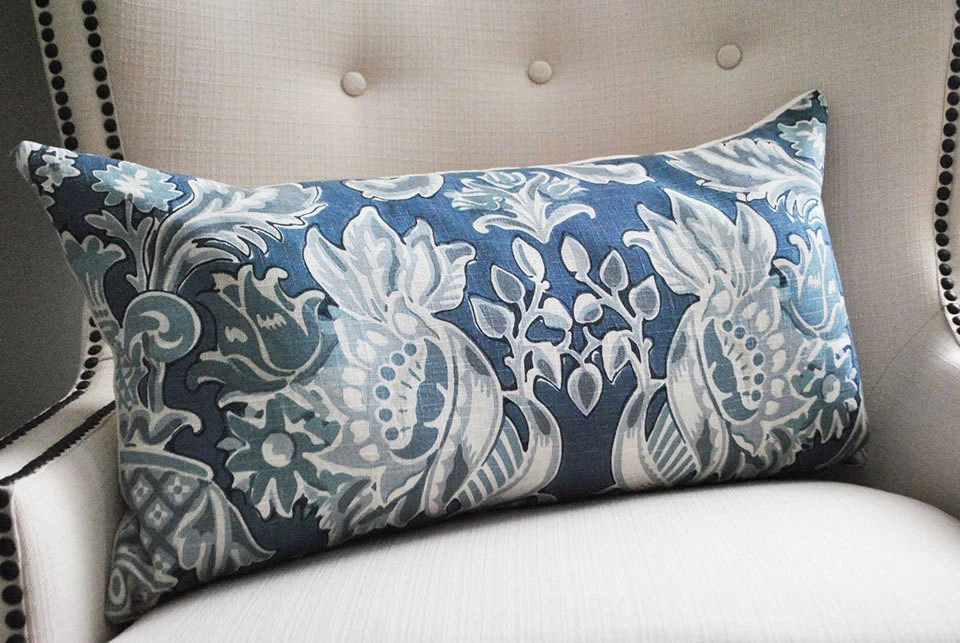 Best Decorative Pillows Lumbar Pillow Cover Blue White Pillow This Month