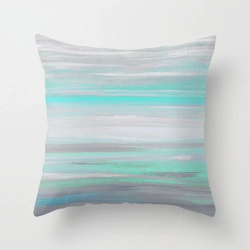 Best Throw Pillow Cover Grey Mint Aqua Abstract Modern Home Decor This Month