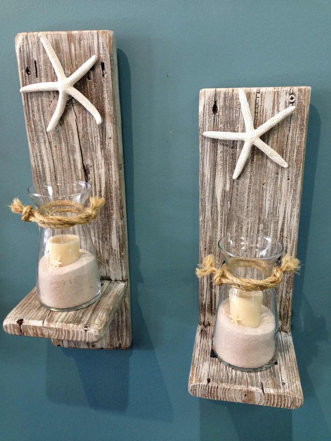 Best Set Of 2 Reclaimed Wood Sconces With Starfish Wall This Month