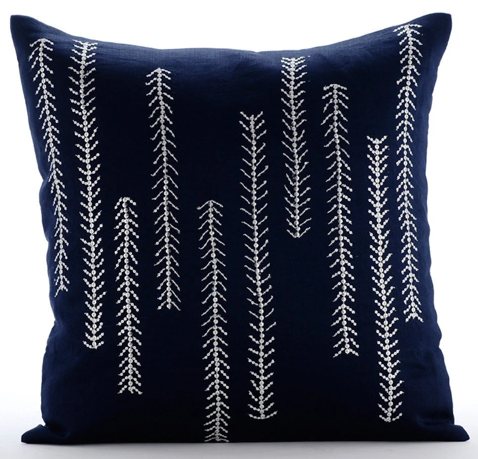 Best Navy Blue Decorative Pillow Cover Square Sequins Beaded This Month
