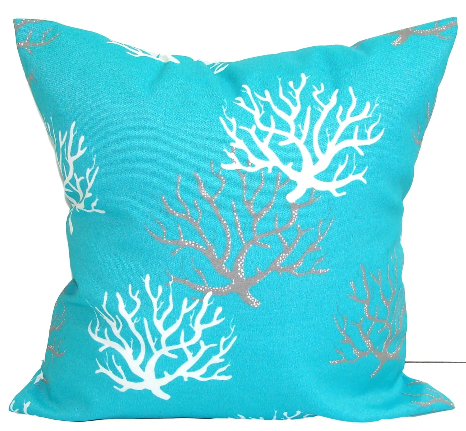 Best Blue Outdoor Pillows Aqua Coral Pillow Cover Blue Decorative This Month