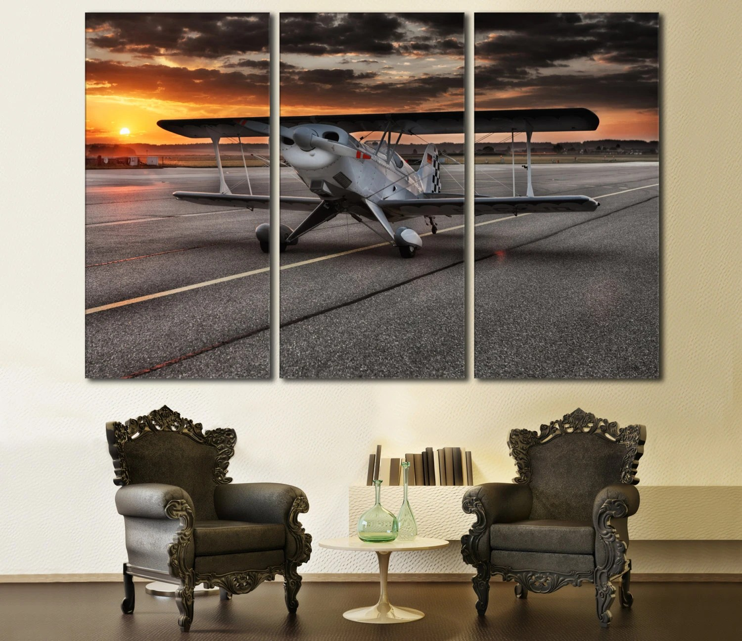 Best Aviation Wall Art Large Canvas Print 3 Panel Art Triptych Art This Month
