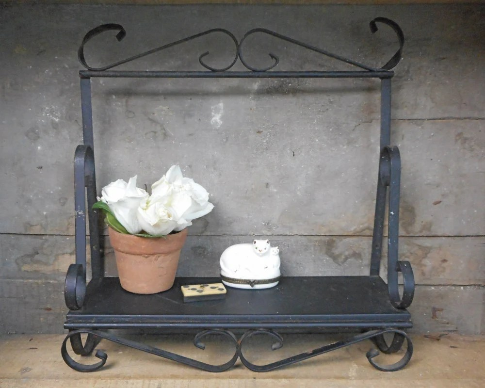 Best Vintage Wrought Iron Shelf Black Wall Decor Indoor Outdoor This Month