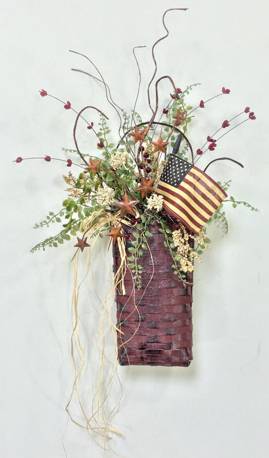 Best Patriotic Door Basket Patriotic Wall Basket Americana Decor This Month