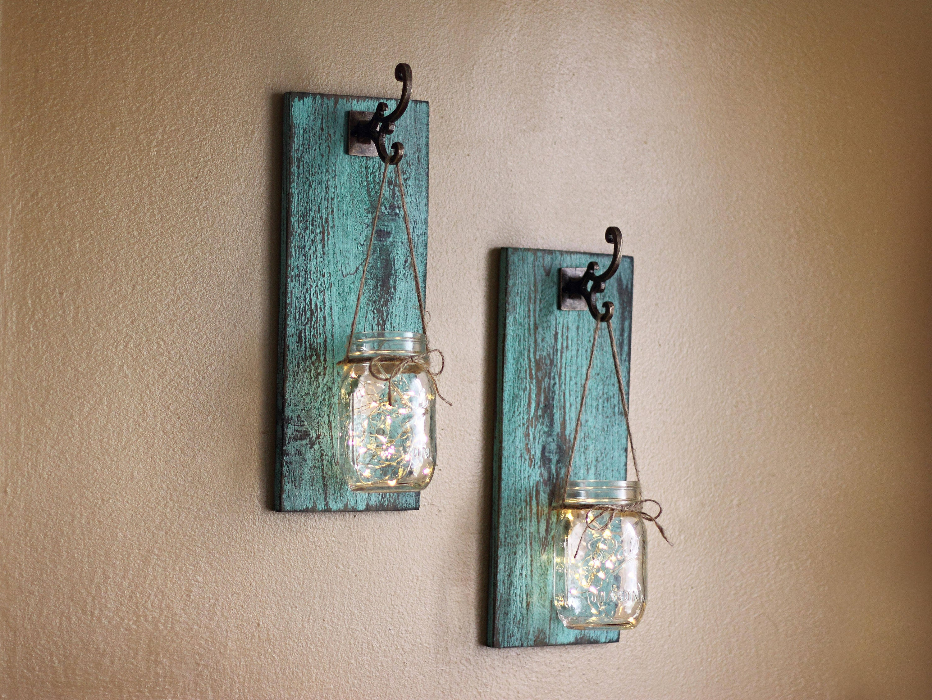 Best Rustic Wall Decor Mason Jar Wall Sconces Distressed Wood This Month