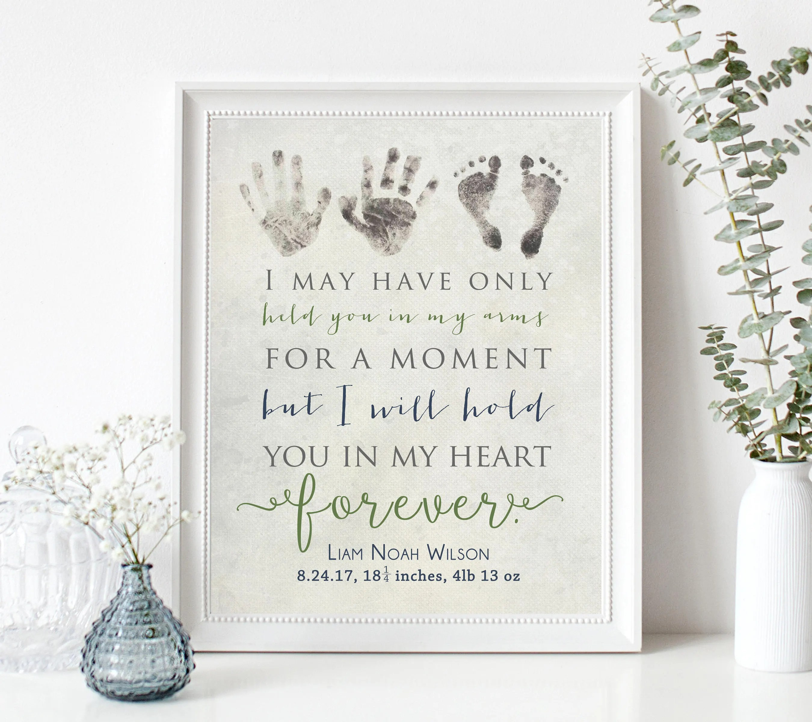 Best Personalized Baby Memorial Gift Print With Actual Handprints This Month