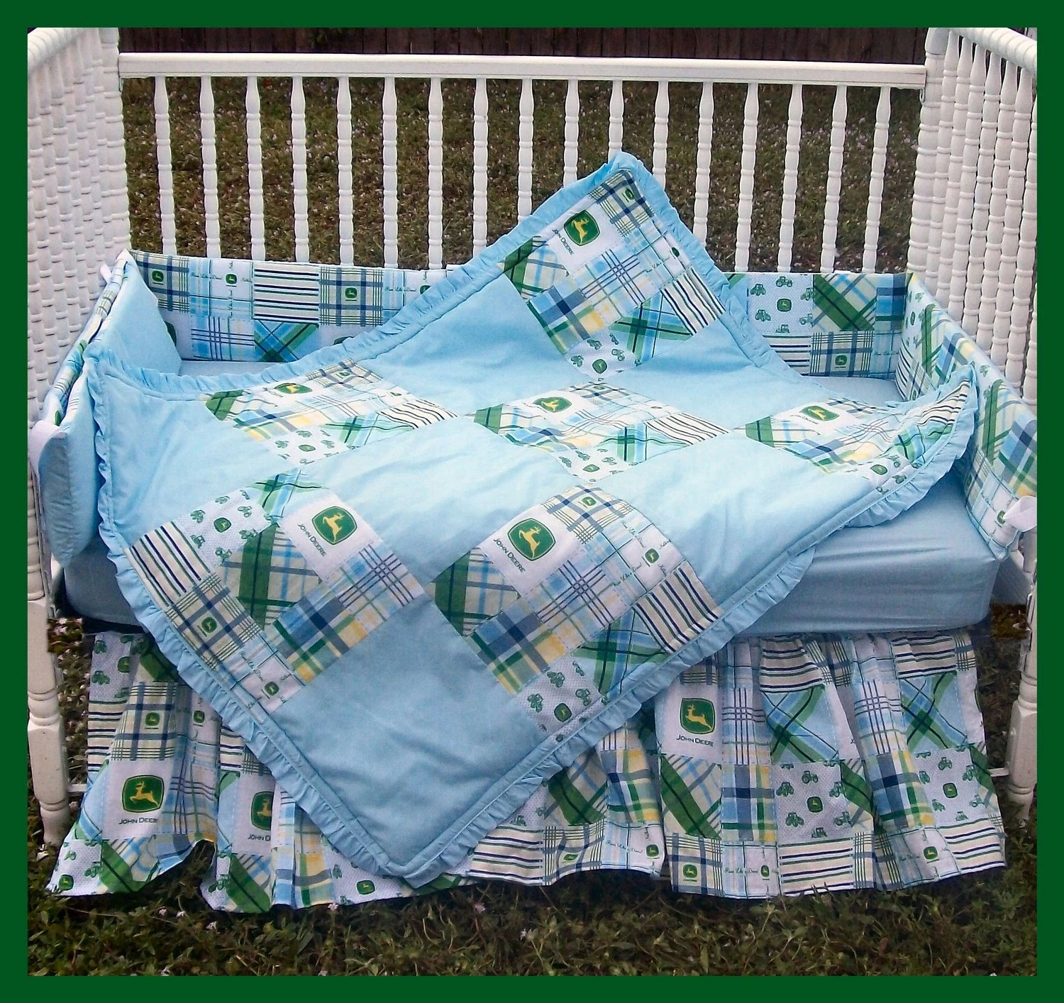 Best New 7 Piece John Deere Baby Crib Bedding Set With Blue Madras This Month