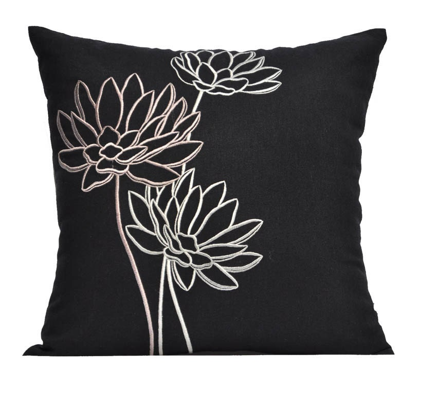Best Lotus Couch Pillow Cover Embroidered Pillow Black Linen This Month