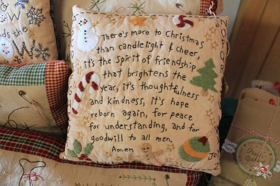 Best Primitive Christmas Pillow Home Decor Folk Art Country Rustic This Month