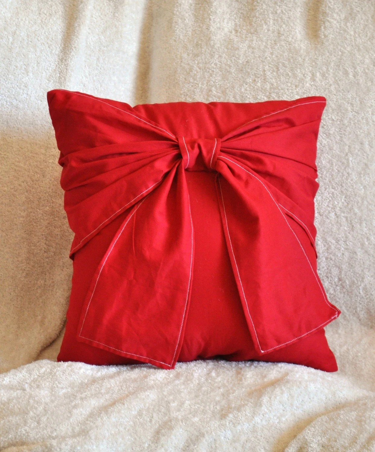 Best Red Decorative Pillow Big Bow Pillow 14X14 Choose Your Color This Month