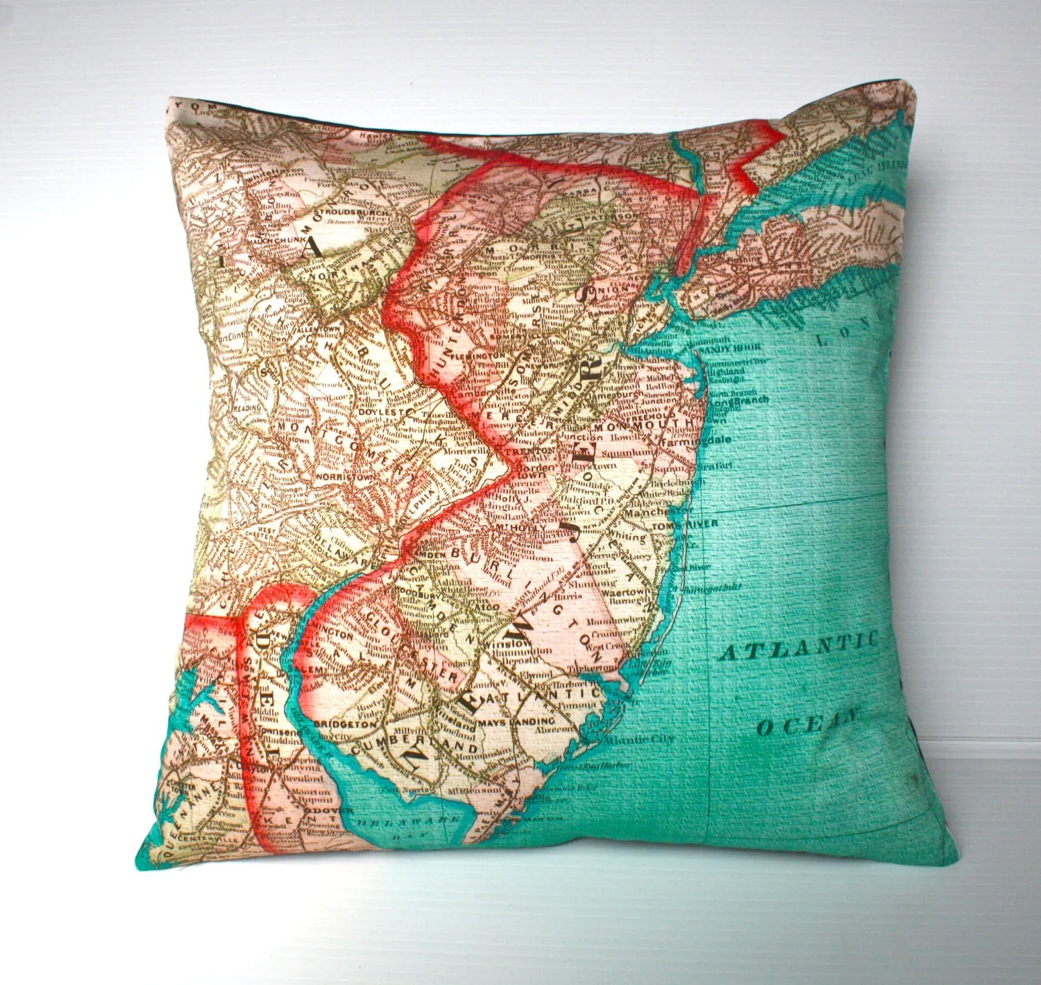 Best Decorative Throw Pillow New Jersey Map Cushion Organic Cotton This Month