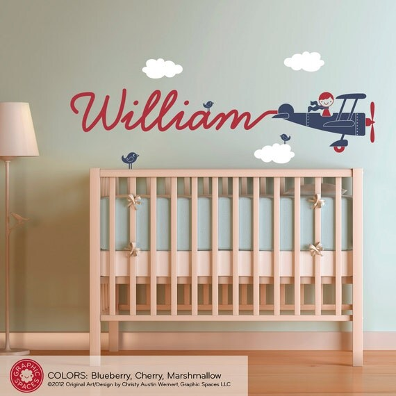 Best Airplane Nursery Wall Art Decal Boy Skywriter By Graphicspaces This Month
