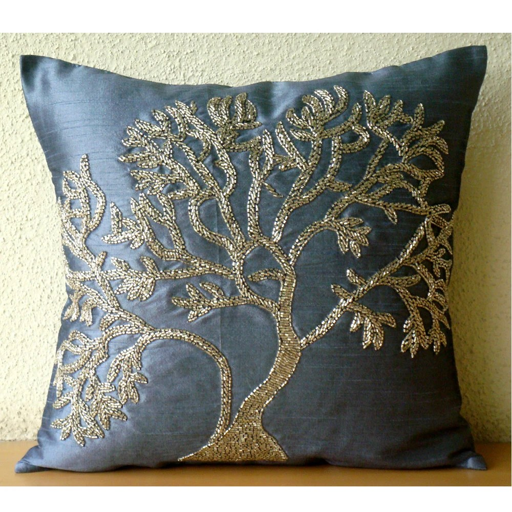 Best Handmade Beaded Tree Decorative Pillows Cover Blue Pillows This Month
