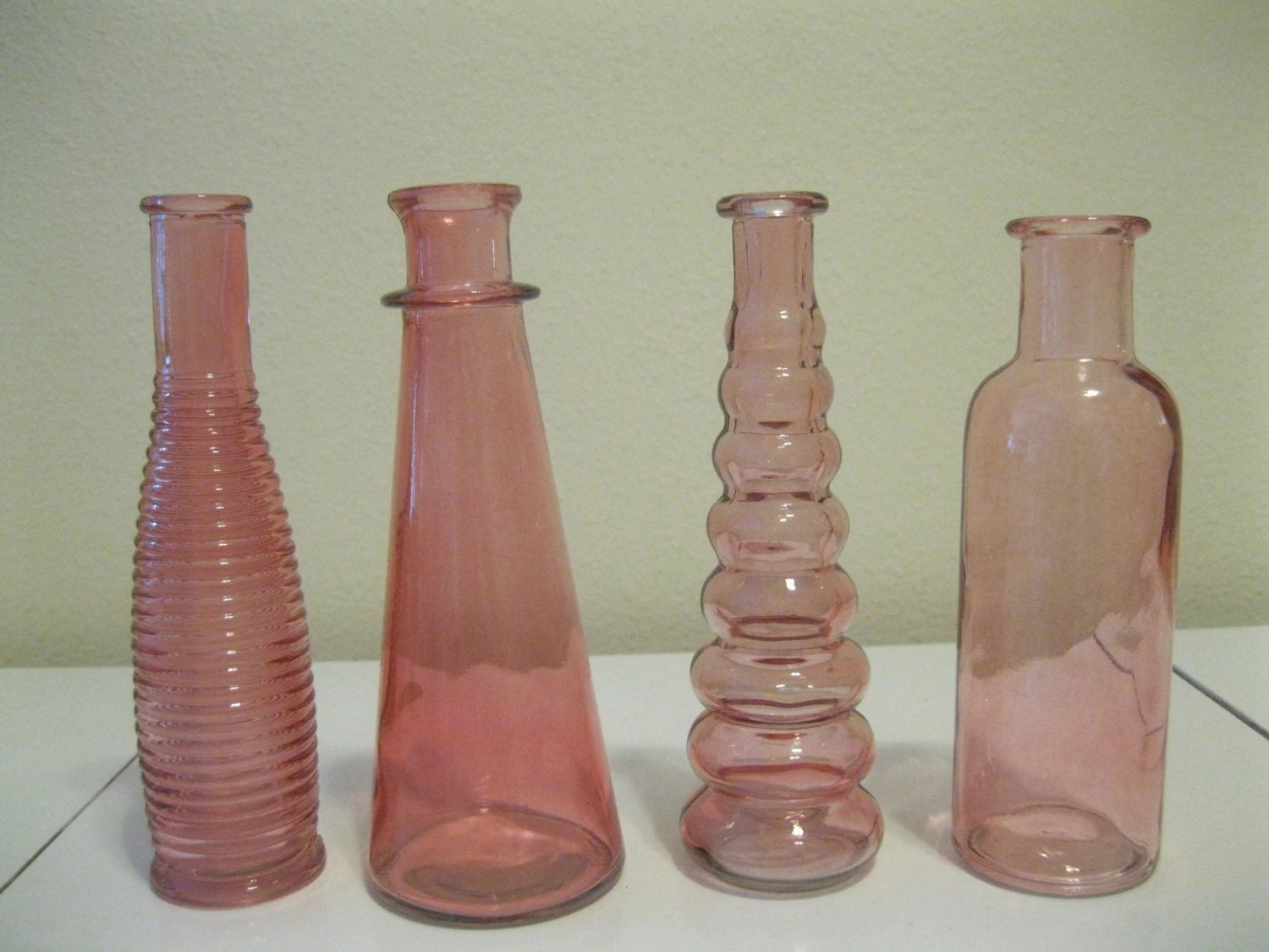Best Four Pink Decorative Colored Glass Bottles Floral By This Month