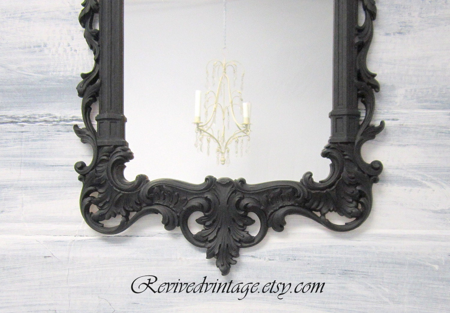 Best Neoclassic Black Framed Mirror Regency Decor Decorative Black This Month