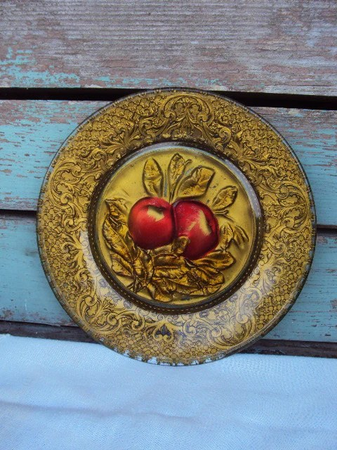 Best Vintage Goofus Glass Decorative Plate Apples Reverse Painted This Month