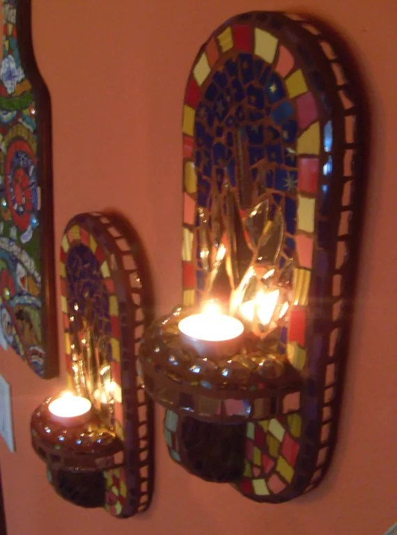 Best 12 Tall Mosaic Art Mirror Wall Sconces Votive Candle This Month