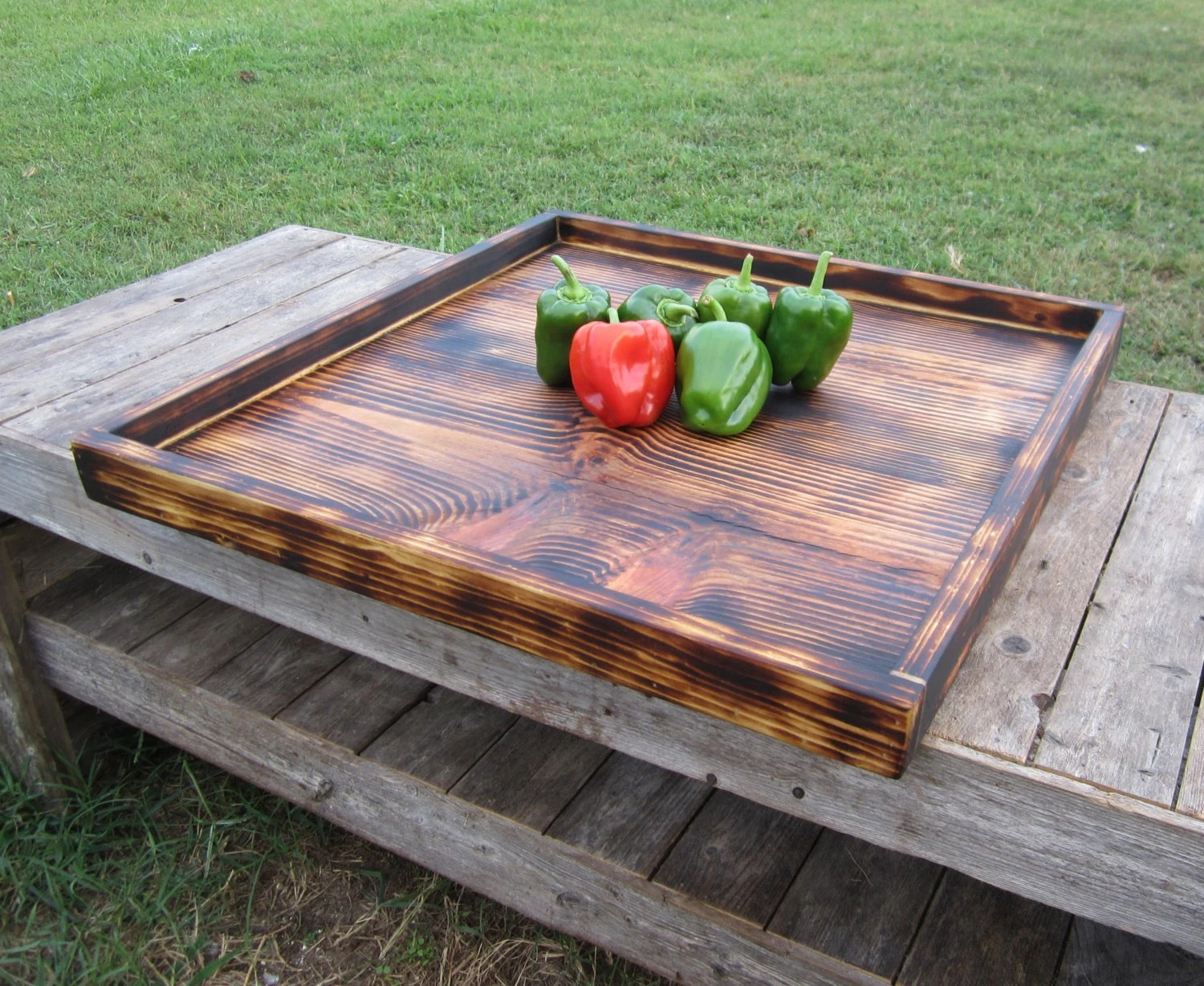 Best Rustic Coffee Table Tray Lodge Decor Torched Wood This Month