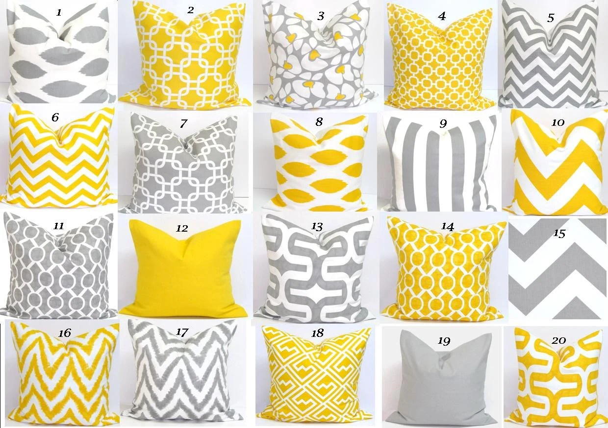 Best Yellow Gray Pillow Sale Pillows 16X16 Inch By Elemenopillows This Month