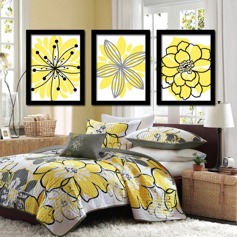 Best Yellow Black Wall Art Canvas Or Prints Charcoal Gray Flower This Month
