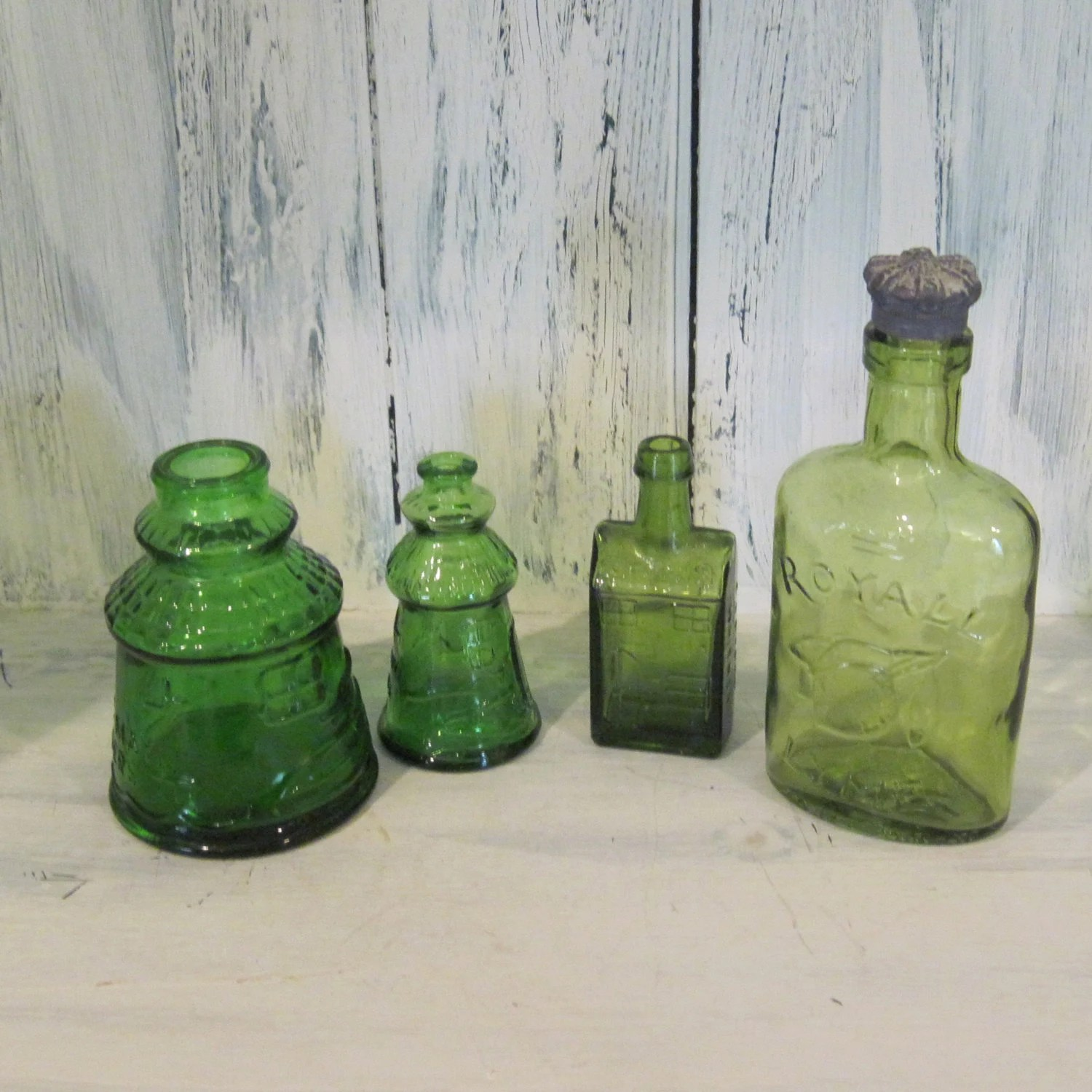 Best Set Of 4 Green Color Glass Bottles Decorative Colored Glass This Month