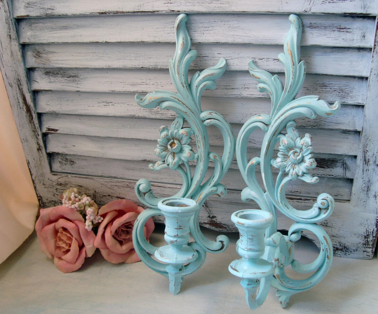 Best Sea Glass Blue Vintage Wall Sconces Light Blue Up Cycled This Month