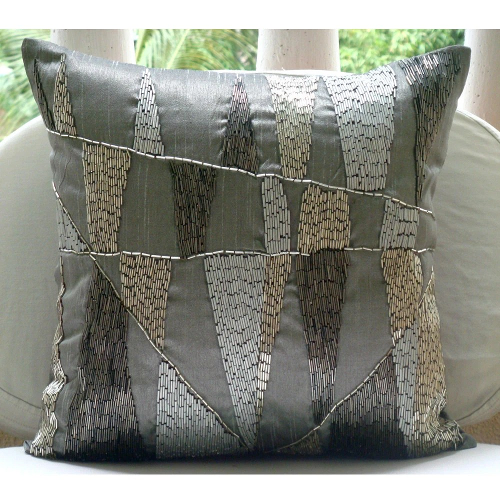 Best Decorative Pillow Sham Covers 24X24 Grey Silver Silk This Month