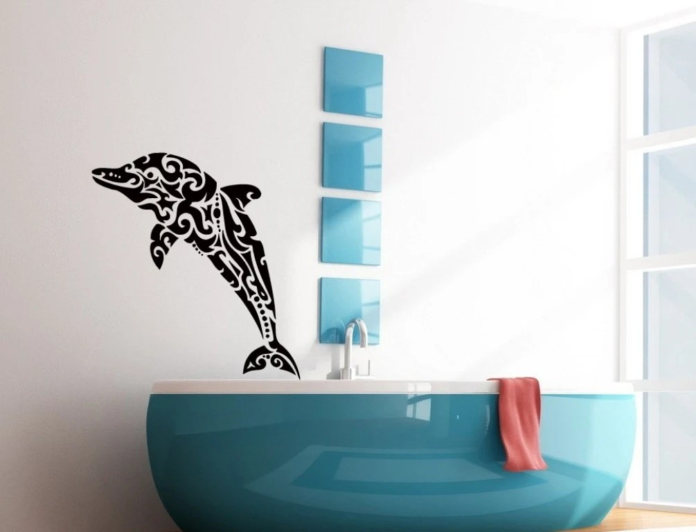 Best Wall Decals Floral Dolphin Decal Vinyl Sticker Bathroom Decor This Month