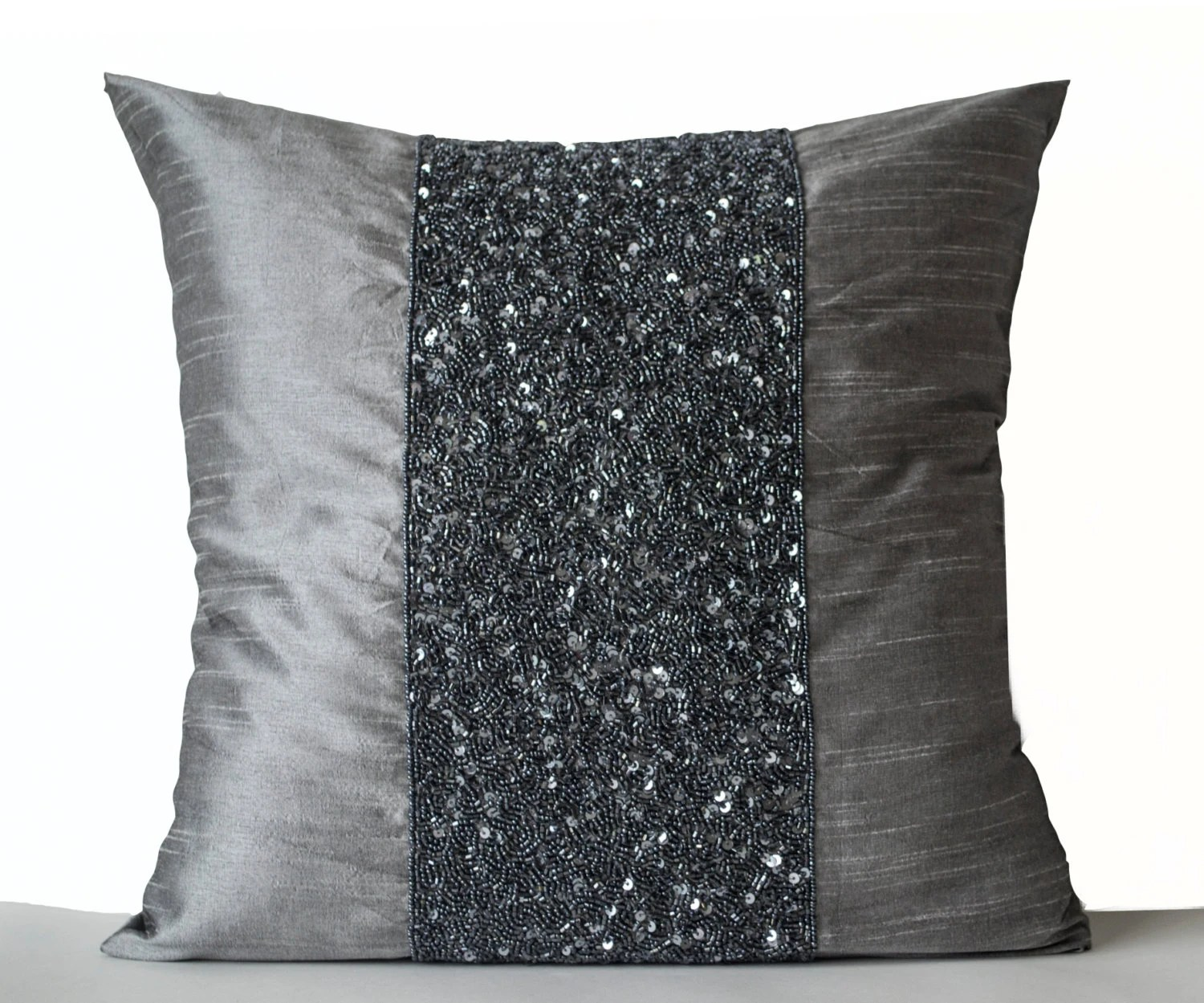 Best Beaded Pillows Beaded Pillow Cover Metallic Cushion Grey This Month