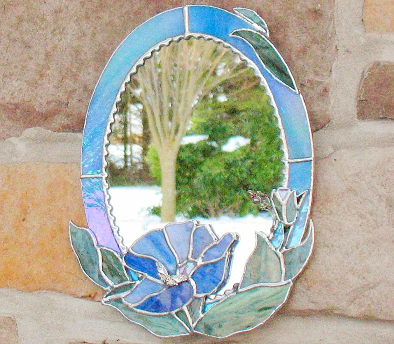 Best Blue Oval Decorative Mirror In Stained Glass By Clearerimage This Month