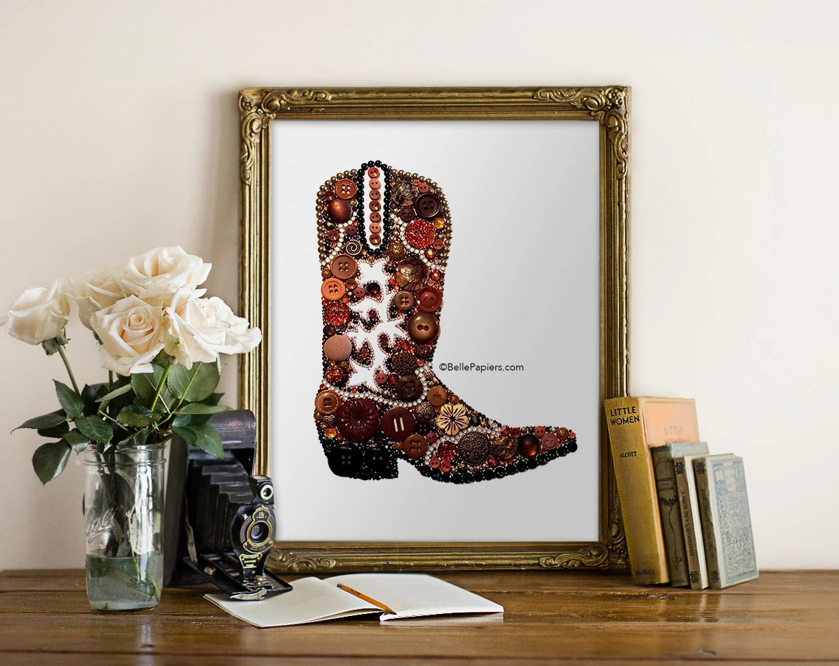 Best Cowboy Boot Wall Art Button Art Cowboy Boot Decoration Cowgirl This Month