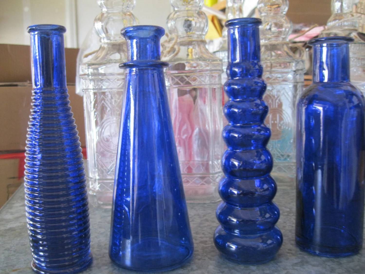 Best 4 Cobalt Blue Decorative Colored Glass Bottles Floral Bud This Month