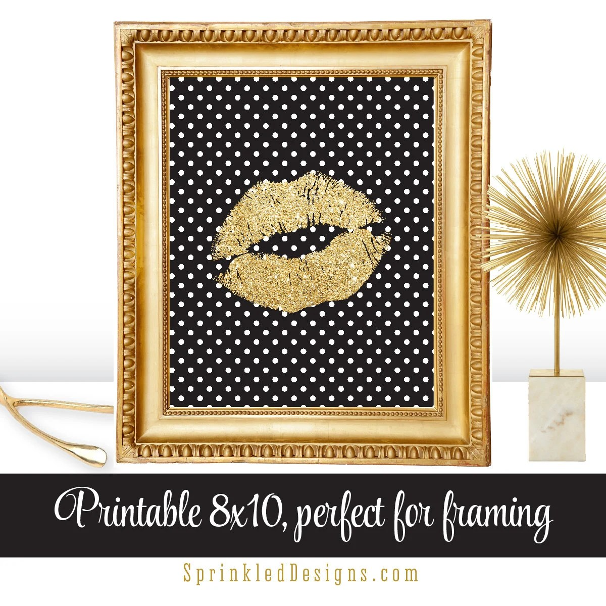 Best Gold Glitter Kiss Lips Black White Dots Glam Decor Gallery This Month